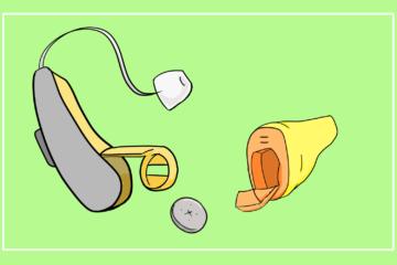 耳掛け型と耳あな型のイラスト